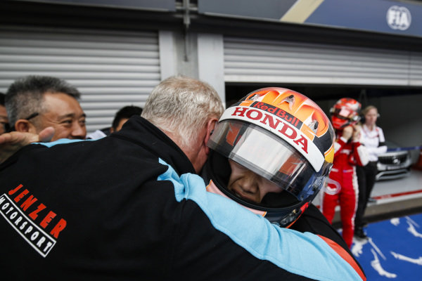SPA-FRANCORCHAMPS, BELGIUM - SEPTEMBER 01: Yuki Tsunoda (JPN) Jenzer Motorsport, is congratulated on his second place in parc ferme during the Spa-Francorchamps at Spa-Francorchamps on September 01, 2019 in Spa-Francorchamps, Belgium. (Photo by Joe Portlock / LAT Images / FIA F3 Championship)