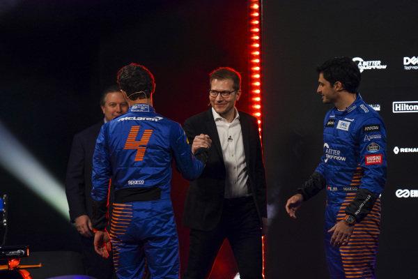 Zak Brown, CEO, McLaren Racing, Andreas Seidl, Team Principal, McLaren, Lando Norris, McLaren and Carlos Sainz Jr, McLaren, on stage at the launch of the McLaren MCL35