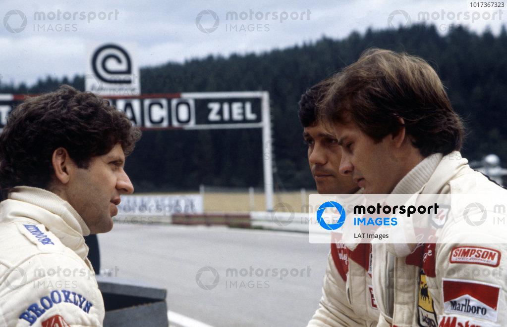 Jody Scheckter with teammate Gilles Villeneuve and McLaren's Patrick Tambay.