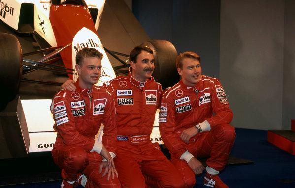 (L to R): Jan Magnussen (DEN) McLaren, Nigel Mansell (GBR) McLaren and Mika Hakkinen (FIN) McLaren at McLaren MP4-10 Launch, Science Museum, London, England, 17 February 1995.