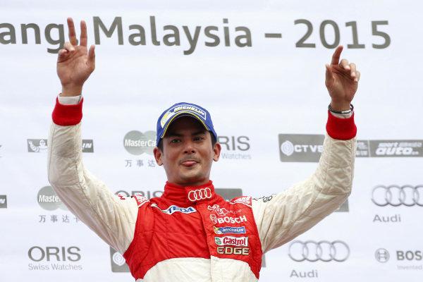 Race winner Alex Yoong (MAL) Audi TEDA Racing Team celebrates on the podium at Audi R8 LMS Cup, Rd4, Sepang, Malaysia, 4-6 September 2015.