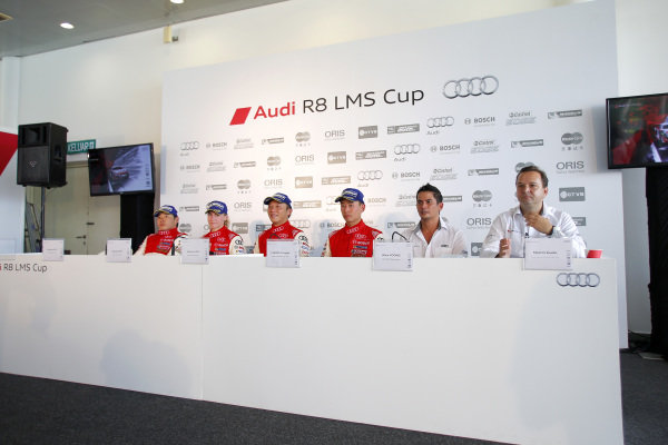 (L to R): Andrew Kim (KOR) E-Rain Racing Team, Rahel Frey (SUI) Castrol Racing Team, Marchy Lee (HKG) Audi Hong Kong Team, Franky Cheng (CHN) FAW-VW Audi Racing Team, Alex Yoong (MAL) Audi TEDA Racing Team during press conference at Audi R8 LMS Cup, Rd4, Sepang, Malaysia, 4-6 September 2015.