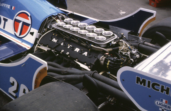 1981 United States Grand Prix West.Long Beach, California, USA.13-15 March 1981.The normally aspirated V12 Matra MS81 engine unit in the back of a Talbot Ligier JS17.Ref-81 LB 16.World Copyright - LAT Photographic
