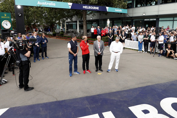Michael Masi, Race Director, Andrew Westacott, Australian Grand Prix Corporation CEO and Chase Carey, Chairman, Formula 1 talks to the press