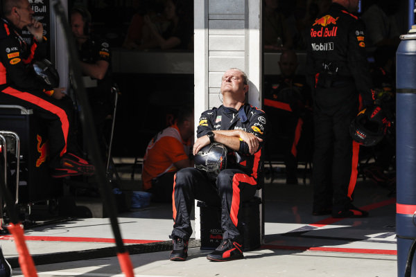 Red Bull Racing mechanic soaking in the sun during the race.