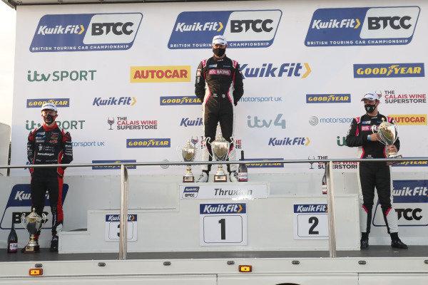 BTCC Podium, Rory Butcher (GBR) - Motorbase Performance Ford Focus, Josh Cook (GBR) - BTC Racing Honda Civic Type R, Tom Chilton (GBR) - BTC Racing Honda Civic Type R
