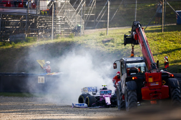 Lance Stroll, Racing Point RP20 walking away from a crash