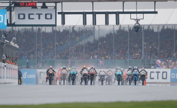2015 Moto3 Championship.  British Grand Prix.  Silverstone, England. 28th - 30th August 2015.  The start.  Ref: KW7_8438a. World copyright: Kevin Wood/LAT Photographic