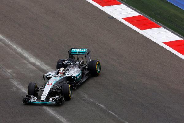Sochi Autodrom, Sochi, Russia. Friday 9 October 2015. Lewis Hamilton, Mercedes F1 W06 Hybrid spins off the track. World Copyright: Charles Coates/LAT Photographic ref: Digital Image _J5R9919