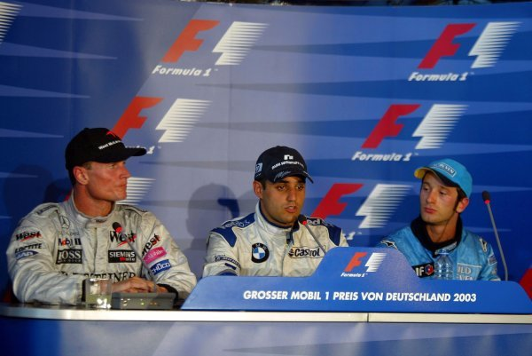 The post race press conference (L to R): David Coulthard (GBR) McLaren, second; Juan Pablo Montoya (COL) Williams, winner; Jarno Trulli (ITA) Renault (Who missed the TV conference) third.Formula One World Championship, Rd12, German Grand Prix, Race Day, Hockenheim, Germany, 3 August 2003.DIGITAL IMAGE