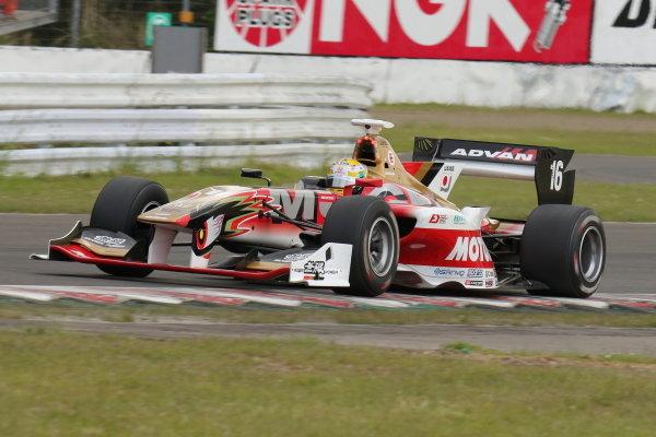 Race winner Naoki Yamamoto, number 16 Team Mugen SF14 Honda.