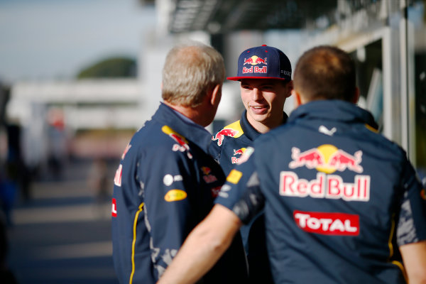 Circuit de Catalunya, Barcelona, Spain.  Friday 13 May 2016. Max Verstappen, Red Bull speaks to Dr. Helmut Marko in the Paddock.  World Copyright: Andrew Hone/LAT Photographic ref: Digital Image _ONZ9708