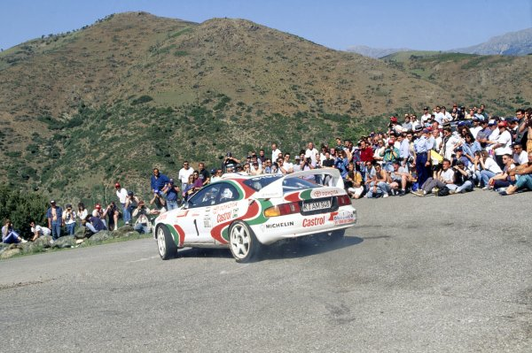 1995 World Rally Championship.Tour de Corse, Corsica, France. 3-5 May 1995.Didier Auriol/Bernard Occelli (Toyota Celica GT4), 1st position.World Copyright: LAT PhotographicRef: 35mm transparency 95RALLY04
