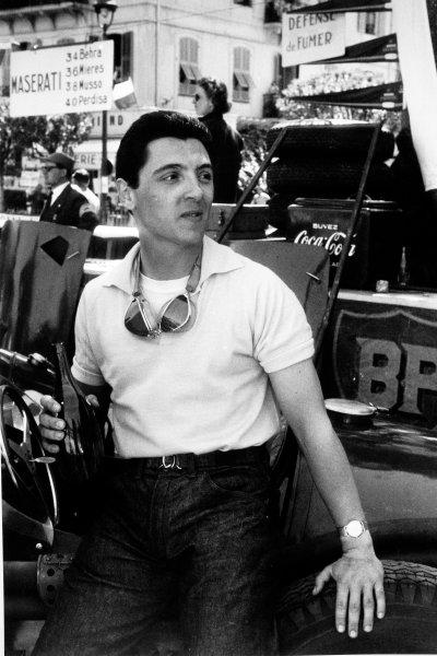 Monte Carlo, Monaco. 22 May 1955.Cesare Perdisa, Maserati 250F, 3rd position, portrait.World Copyright: LAT Photographic.Ref: Autosport b&w print
