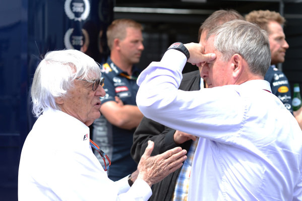 Bernie Ecclestone (GBR) CEO Formula One Group (FOM) and Martin Brundle (GBR) Sky TV at Formula One World Championship, Rd7, Canadian Grand Prix, Race, Montreal, Canada, Sunday 7 June 2015.