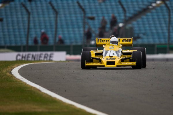 Silverstone, Northamptonshire, UK.  Saturday 15 July 2017. A Rene Arnoux raced Renault RS01 is driven in a parade celebrating 40 years since the Renault team first entered a Formula 1 Grand Prix. World Copyright: Dom Romney/LAT Images  ref: Digital Image GT2R3257