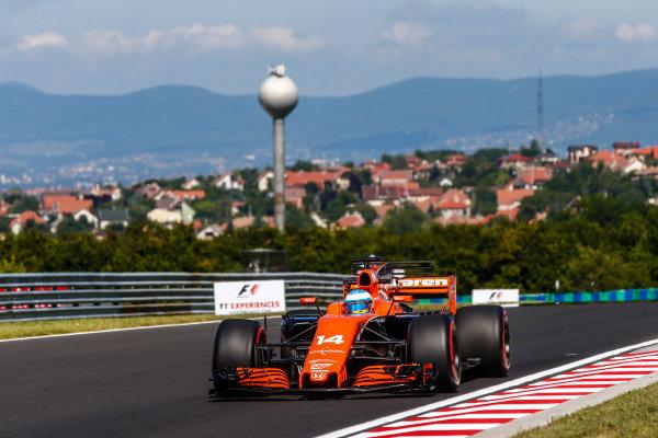 Hungaroring, Budapest, Hungary.  Friday 28 July 2017. Fernando Alonso, McLaren MCL32 Honda. World Copyright: Andy Hone/LAT Images  ref: Digital Image _ONY9375