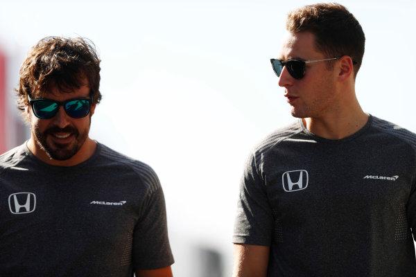 Hungaroring, Budapest, Hungary.  Friday 28 July 2017. Fernando Alonso, McLaren, and Stoffel Vandoorne, McLaren. World Copyright: Glenn Dunbar/LAT Images  ref: Digital Image _31I8808