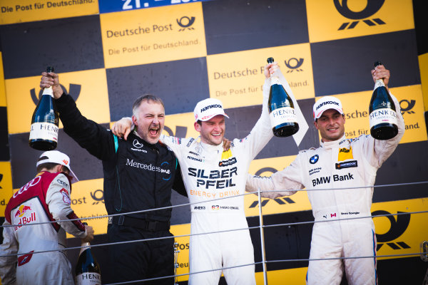 2017 DTM Round 5 Moscow Raceway, Moscow, Russia Sunday 23 July 2017. Podium: Maro Engel, Mercedes-AMG Team HWA, Mercedes-AMG C63 DTM and Bruno Spengler, BMW Team RBM, BMW M4 DTM World Copyright: Evgeniy Safronov/LAT Images ref: Digital Image SafronovEvgeniy_2017_DTM_MRW_San-201