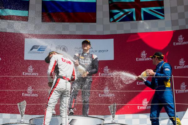 2017 FIA Formula 2 Round 5. Red Bull Ring, Spielberg, Austria. Sunday 9 July 2017. Alexander Albon (THA, ART Grand Prix), Artem Markelov (RUS, RUSSIAN TIME) and Oliver Rowland (GBR, DAMS).  Photo: Zak Mauger/FIA Formula 2. ref: Digital Image _54I0383