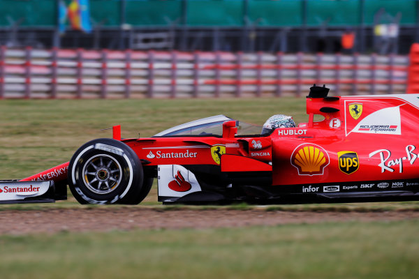 Silverstone, Northamptonshire, UK.  Friday 14 July 2017. Sebastian Vettel, Ferrari SF70H, runs with the Shield frontal protection system fitted. World Copyright: Zak Mauger/LAT Images  ref: Digital Image _56I8169