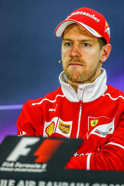 Bahrain International Circuit, Sakhir, Bahrain.  Sunday 16 April 2017. Sebastian Vettel, Ferrari, 1st Position, in the Press Conference. World Copyright: Sam Bloxham/LAT Images ref: Digital Image _J6I2511