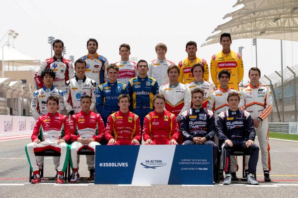 2017 FIA Formula 2 Round 1. Bahrain International Circuit, Sakhir, Bahrain.  Thursday 13 April 2017. Class photo on the grid. Photo: Zak Mauger/FIA Formula 2. ref: Digital Image _56I8946