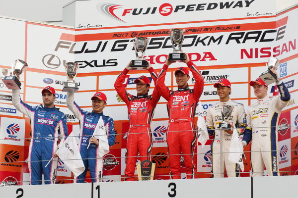 2017 Japanese Super GT Series. Fuji, Japan. 6th - 7th April 2017. Rd 2. GT500 Winner Yuji Tachikawa & Hiroaki Ishiura ( #38 ZENT CERUMO LC500 ) 2nd position Kazuya Oshima & Andrea Caldarelli ( #6 WAKO'S 4CR LC500 ) 3rd position Ryo Hirakawa & Nick Cassidy ( #37  KeePer TOM'S LC500 ) podium, portrait World Copyright: Yasushi Ishihara / LAT Images. Ref: 2017SGT_Rd2_05