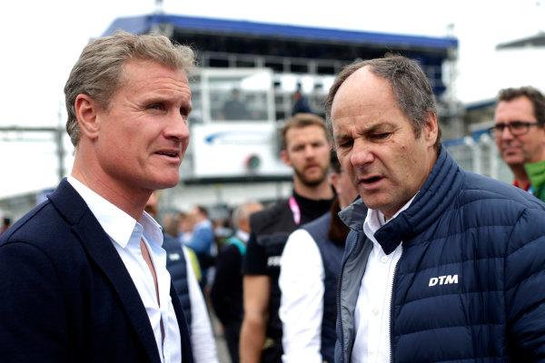 2017 DTM Round 1 Hockenheim, Germany. Saturday 6 May 2017. David Coulthard, Gerhard Berger, ITR Chairman World Copyright: Alexander Trienitz/LAT Images ref: Digital Image 2017-DTM-R1-HH-AT2-0607