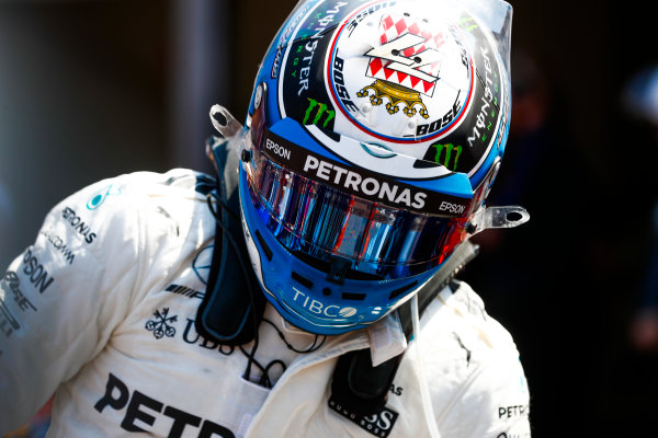 Monte Carlo, Monaco. Saturday 27 May 2017. Valtteri Bottas, Mercedes AMG, in Parc Ferme after Qualifying. World Copyright: Glenn Dunbar/LAT Images ref: Digital Image _X4I9239