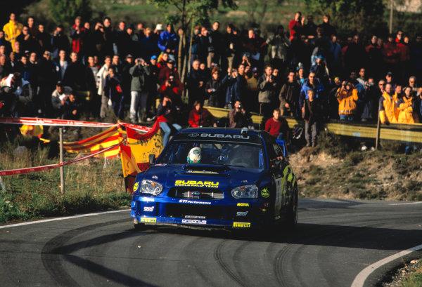 2003 World Rally Championship, Catalunya, Spain, Rd13. 23 - 26 October 2003.Petter Solberg, Subaru Impreza WRC ActionWorld Copyright: McKlein/LAT PhotographicRef: Transparency 03_WRC_Rd13_04