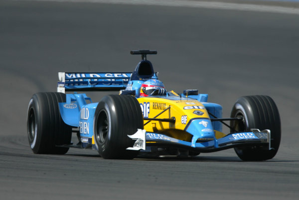 2003 European Grand Prix - Friday 1st Qualifying,Nurburgring, Germany.27thth June 2003.Fernando Alonso, Renault R23, action.World Copyright LAT Photographic.Digital Image Only.