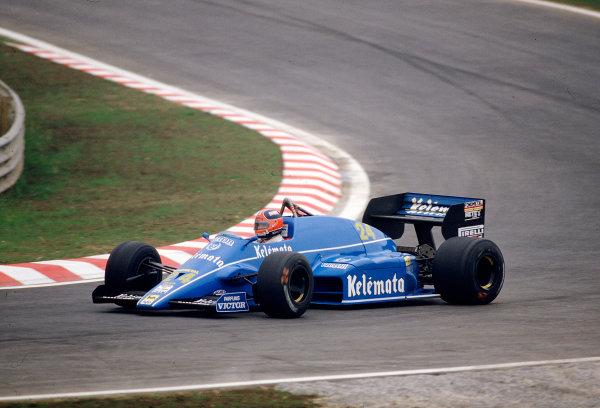 1985 Portuguese Grand Prix.Estoril, Portugal.19-21 April 1985.Piercarlo Ghinzani (Osella FA1F Alfa Romeo) 9th position.Ref-85 POR 33.World Copyright - LAT Photographic