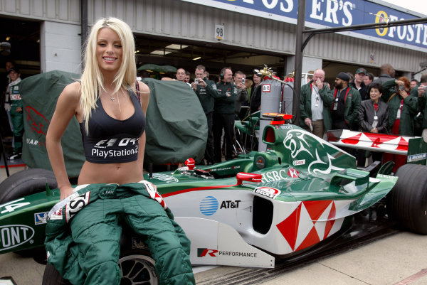 2004 British Grand Prix - Sunday Race,Silverstone, Britain. 11th July 2004 Emma B supporting the F104 Playstation 2 game with the Jaguar team.World Copyright: Steve Etherington/LAT Photographic ref: Digital Image Only