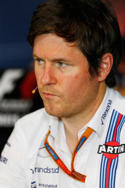 Red Bull Ring, Spielberg, Austria. Friday 01 July 2016. Rob Smedley, Head of Vehicle Performance, Williams Martini Racing, in the team principals Press Conference. World Copyright: Andy Hone/LAT Photographic ref: Digital Image _ONZ5135