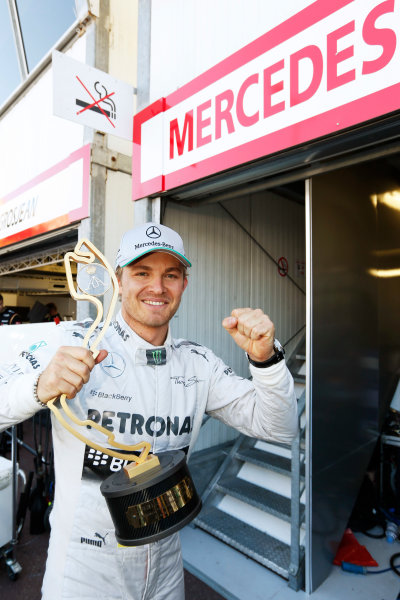 Monte Carlo, Monaco 26th May 2013 Nico Rosberg, Mercedes W04, with his winner's trophy.  World Copyright: Charles Coates/LAT Photographic ref: Digital Image _N7T1362