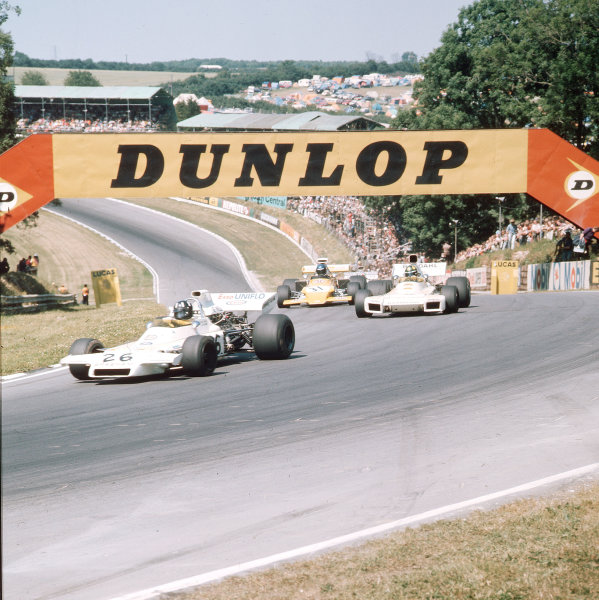 Brands Hatch, England. 13-15 July 1972.Graham Hill (Brabham BT37 Ford) leads Wilson Fittipaldi (Brabham BT34 Ford) and Mike Beuttler (March 721G Ford). Ref-3/5100B.World Copyright - LAT Photographic