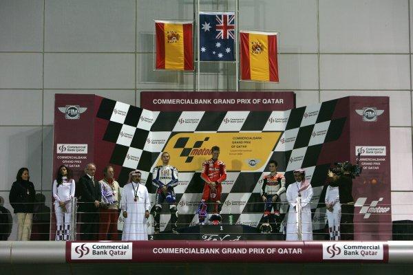 2008 MotoGP. Losail, Qatar. 7th - 9th March 2008. Rd 1. Podium L to R Jorge Lorenzo, 2nd position, Casey Stoner,1st position, 3rd position, Dani Pedrosa. World Copyright: Martin Heath/LAT Photographic. Ref: Digital Image Only.