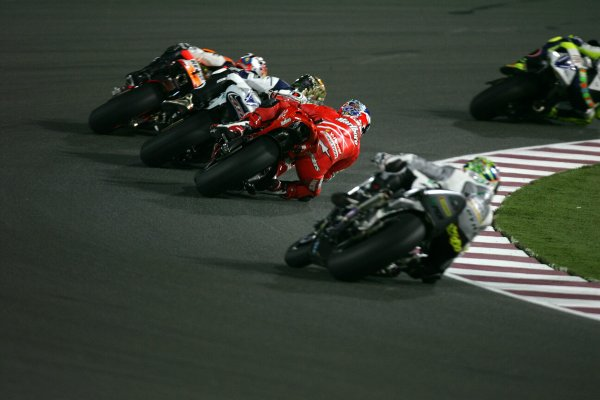 2008 MotoGP. Losail, Qatar. 7th - 9th March 2008. Rd 1. Casey Stoner, Ducati, 1st position, action. World Copyright: Martin Heath/LAT Photographic. World Copyright: Martin Heath/LAT Photographic. Ref: Digital Image Only.