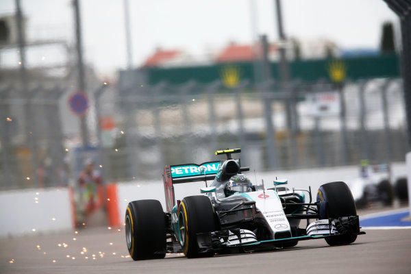 Sochi Autodrom, Sochi, Russia. Friday 09 October 2015. Nico Rosberg, Mercedes F1 W06 Hybrid. World Copyright: Alastair Staley/LAT Photographic. ref: Digital Image _R6T9718