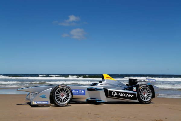 FIA Formula E Test Day. Formula E Car on the beach. Punta Del Este, Uruguay, South America. Formula E Third Race Event, 11th - 14th December 2014. Sunday 14 December 2014.  Photo: Adam Warner/LAT/FE ref: Digital Image _L5R5075