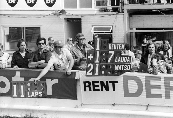 Ferrari hold out a pit board for race winner Carlos Reutemann (ARG), with his team mate Gilles Villeneuve (CDN) watching on (Right) with Peter Windsor (GBR) Journalist.
