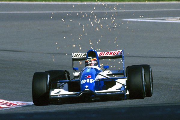 Thierry Boutsen (BEL) Ligier JS37 crashed out of his home GP on lap 28. Belgian Grand Prix, Rd 12, Spa-Francorchamps, Belgium, 30 August 1992.