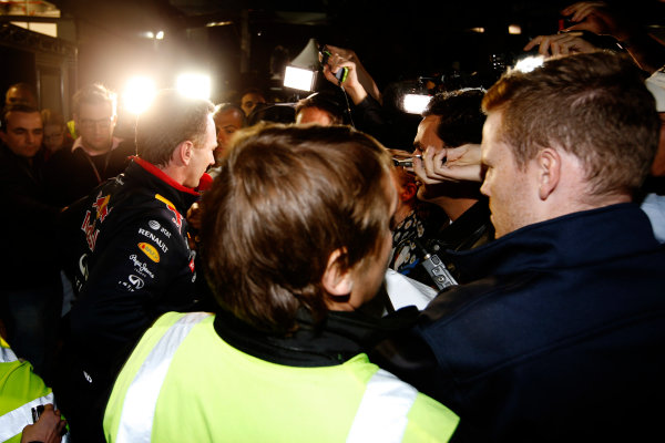 Albert Park, Melbourne, Australia. Sunday 16 March 2014. Christian Horner, Team Principal, Red Bull Racing, addresses the media regarding the disqualification of the car of Daniel Ricciardo, Red Bull Racing. World Copyright: Charles Coates/LAT Photographic. ref: Digital Image _J5R6542