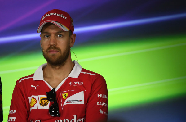 Sebastian Vettel (GER) Ferrari in the Press Conference at Formula One World Championship, Rd1, Australian Grand Prix, Preparations, Albert Park, Melbourne, Australia, Thursday 23 March 2017.