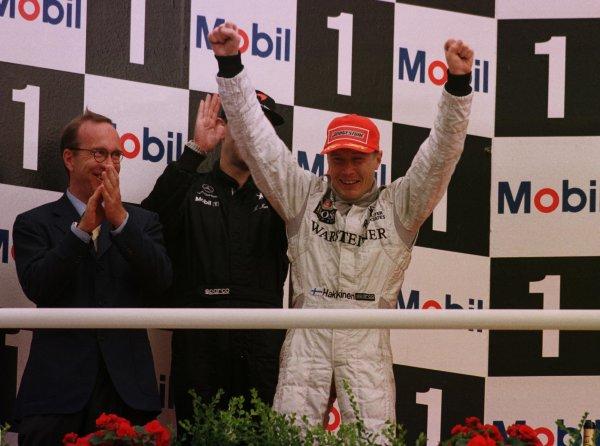 1998 German Grand Prix.Hockenheim, Germany.31/7-2/8 1998.Mika Hakkinen (McLaren Mercedes-Benz) 1st position.World Copyright - LAT Photographic