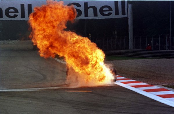 1997 Italian Grand Prix.Monza, Italy.5-7 September 1997.Jarno Trulli (Prost JS45 Mugen Honda) suffers an exploded engine during practice (Pic 3 of 3).World Copyright - Coates/LAT Photographic