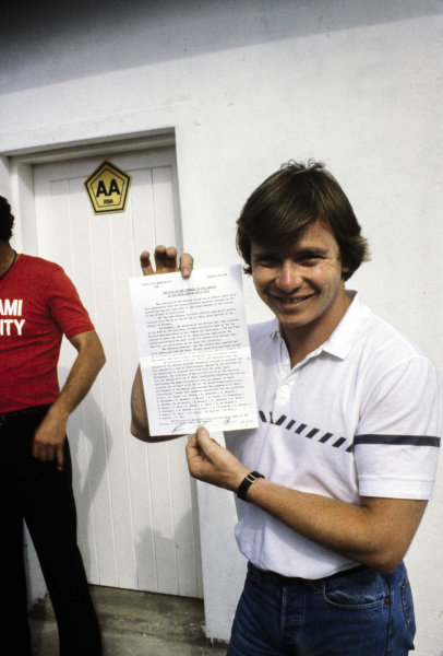 Didier Pironi with the signed declaration from all drivers on their intent to strike.