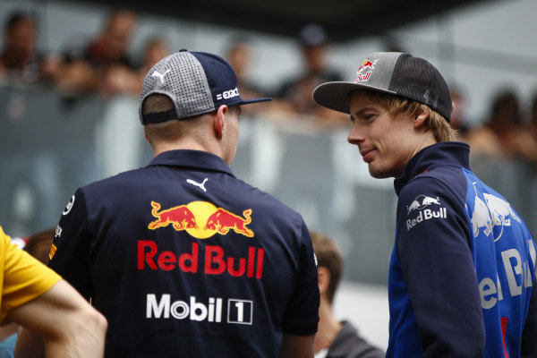 Brendon Hartley, Toro Rosso, talks to Max Verstappen, Red Bull Racing, on the drivers' parade.
