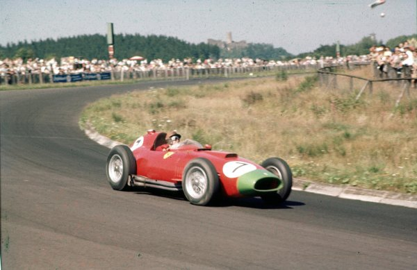 1957 German Grand Prix.Nurburgring, Germany.2-4 August 1957.Peter Collins (Lancia-Ferrari D50 801) 3rd position.Ref-57 GER 07.World Copyright - LAT Photographic